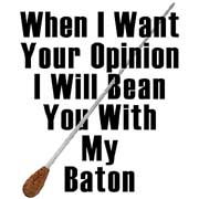 when i want your opinion i will bean you with my baton